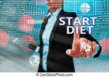 Writing note showing Start Diet. Business photo showcasing the practice of eating food in a regulated and supervised fashion System administrator control, gear configuration settings tools concept.