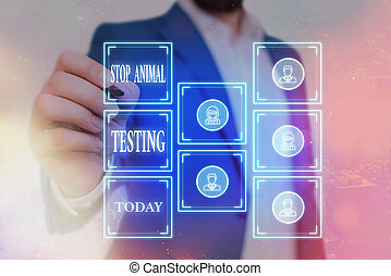 Writing note showing Stop Animal Testing. Business photo showcasing put an end on animal experimentation or research Grids and different icons latest digital technology concept.