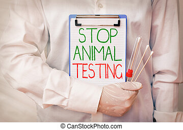 Writing note showing Stop Animal Testing. Business photo showcasing put an end on animal experimentation or research Laboratory blood test sample for medical diagnostic analysis.