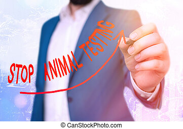 Writing note showing Stop Animal Testing. Business photo showcasing put an end on animal experimentation or research Digital arrowhead curve denoting growth development concept.
