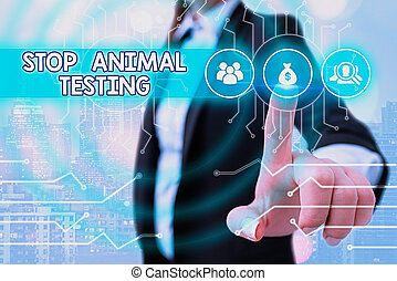 Writing note showing Stop Animal Testing. Business photo showcasing put an end on animal experimentation or research System administrator control, gear configuration settings tools concept.