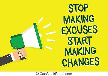 Writing note showing Stop Making Excuses Start Making ...