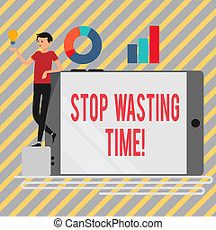 Writing note showing Stop Wasting Time. Business photo showcasing advising demonstrating or group start planning and use it wisely Man Leaning on Smartphone Turned on Side Graph and Idea Icon.