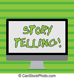 Writing note showing Storytelling. Business photo showcasing activity writing stories for publishing them to public White Computer Monitor WideScreen on a Stand for Technology.