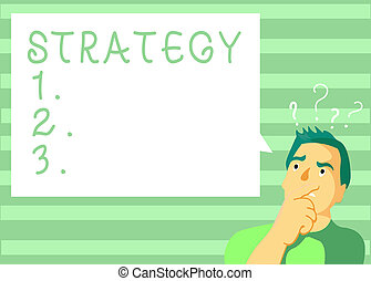 Writing note showing Strategy. Business photo showcasing plan of action designed to achieve long term or overall aim