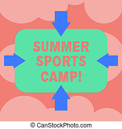 Writing note showing Summer Sports Camp. Business photo showcasing providing facilities for sleeping eating and handicrafts Arrows on Four Sides of Blank Rectangular Shape Pointing Inward photo.