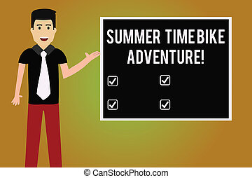 Writing note showing Summer Time Bike Adventure. Business photo showcasing Riding bikes during sunny season of the year Man with Tie Talking Presenting Blank Color Square Board.
