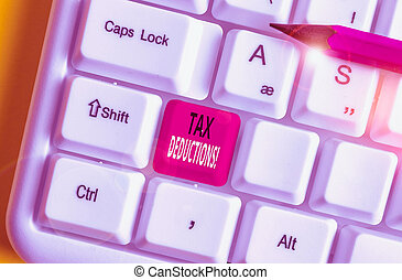 Writing note showing Tax Deductions. Business photo showcasing reduction income that is able to be taxed of expenses White pc keyboard with note paper above the white background.