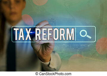 Writing note showing Tax Reform. Business photo showcasing government policy about the collection of taxes with business owners Web search digital information futuristic technology network connection.