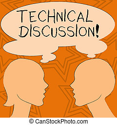 Writing note showing Technical Discussion. Business photo showcasing conversation or debate about a specific technical issue Silhouette Sideview Profile of Man and Woman Thought Bubble.