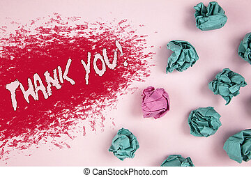 Writing note showing Thank You Motivational Call. Business photo showcasing Appreciation greeting Acknowledgment Gratitude written on Illustrated background Crumpled Paper Balls next to it.