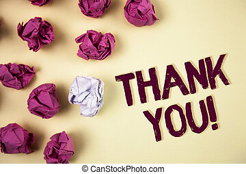Writing note showing Thank You Motivational Call. Business photo showcasing Appreciation greeting Acknowledgment Gratitude written on Plain background Crumpled Paper Balls next to it.