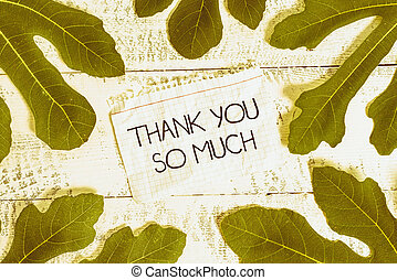 Writing note showing Thank You So Much. Business photo showcasing Expression of Gratitude Greetings of Appreciation Leaves surrounding notepaper above a classic wooden table.