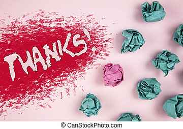 Writing note showing Thanks Motivational Call. Business photo showcasing Appreciation greeting Acknowledgment Gratitude written on Illustrated background Crumpled Paper Balls next to it.