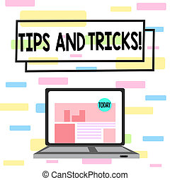 Writing note showing Tips And Tricks. Business photo showcasing means piece advice maybe suggestion how improve Laptop Switched On with Website Homepage Screen Web Search.