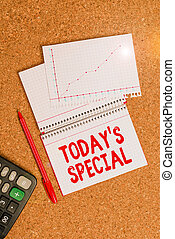 Writing note showing Today Special. Business photo showcasing a day that filled with surprising events Unordinary day Desk notebook paper office paperboard study supplies chart.