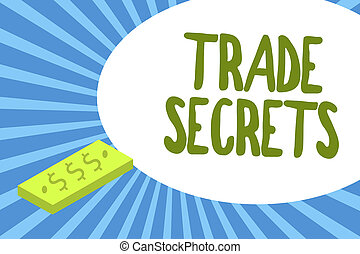 Writing note showing Trade Secrets. Business photo ...