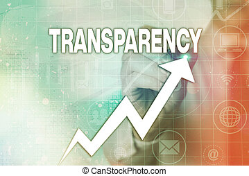 Writing note showing Transparency. Business concept for something transparent especially a picture viewed by light Arrow symbol going upward showing significant achievement