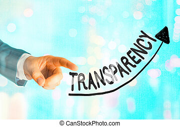 Writing note showing Transparency. Business concept for something transparent especially a picture viewed by light Digital arrowhead curve denoting growth development concept