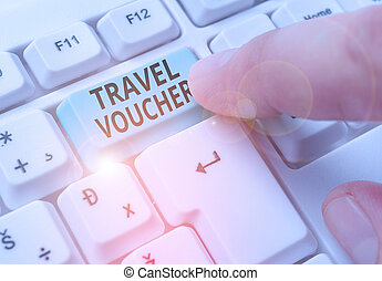 Writing note showing Travel Voucher. Business photo showcasing Tradable transaction type worth a certain monetary value.