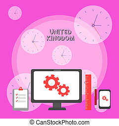 Writing note showing United Kingdom. Business photo showcasing Island country located off the northwestern coast of Europe Business Concept PC Monitor Mobile Device Clipboard Ruler Ballpoint Pen.