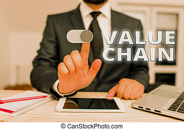 Writing note showing Value Chain. Business photo showcasing ...