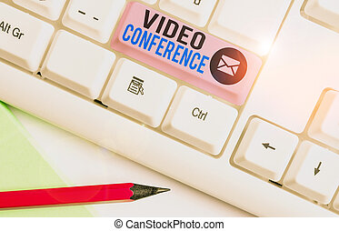 Writing note showing Video Conference. Business photo showcasing showing in remote places hold facetoface meetings.