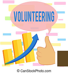 Writing note showing Volunteering. Business photo showcasing...