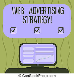 Writing note showing Web Advertising Strategy. Business photo showcasing uses existing social networks to promote a product Mounted Computer Screen with Line Graph on Desk Blank Color Text Box.