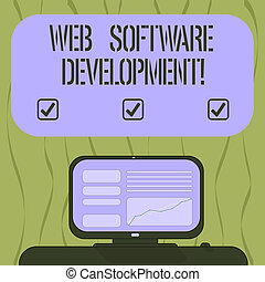Writing note showing Web Software Development. Business photo showcasing plan to make consumers aware of a product Mounted Computer Screen with Line Graph on Desk Blank Color Text Box.