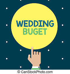 Writing note showing Wedding Buget. Business photo ...
