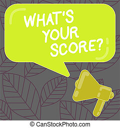 Writing note showing What S Your Score. Business photo showcasing Personal grade rating on a competition game or study Megaphone and Rectangular Color Speech Bubble with Reflection.