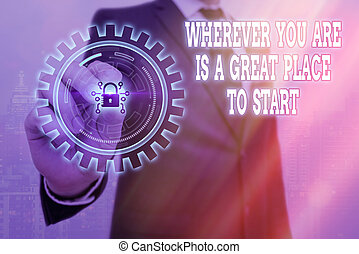 Writing note showing Wherever You Are Is A Great Place To Start. Business photo showcasing lot of success ahead of me Graphics padlock for web data information security application system.