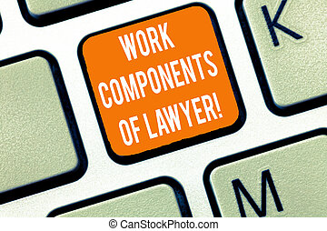 Writing note showing Work Components Of Lawyer. Business...