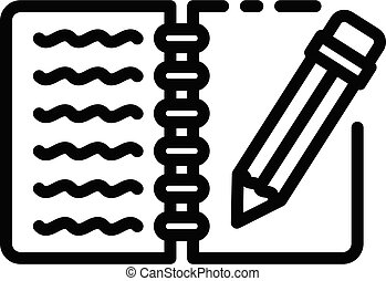 Writing notebook icon, outline style
