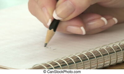 Writing notes with a pencil