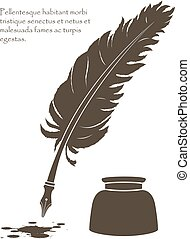 writing old feather with ink