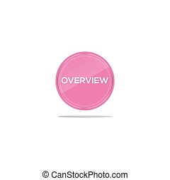 Writing overview in a pink circle. There is a circular glass in front of the overview article.