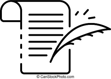 Writing papyrus icon, outline style