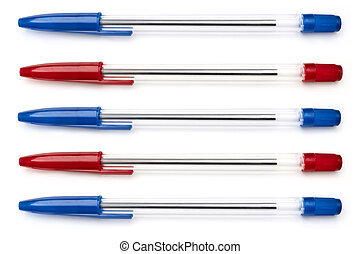 A selection of blue and red writing pens arranged horizontally over white