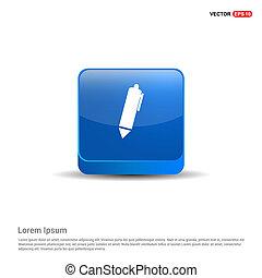 Writing pen icon - 3d Blue Button