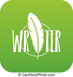 Writing pen icon green vector