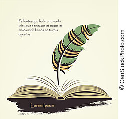 writing pen multicolored feather with open book