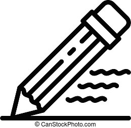 Writing pencil icon, outline style