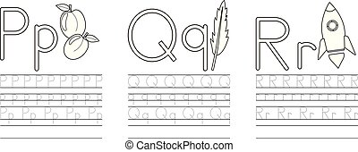 Writing practice of letters P,Q,R. Coloring book. Education for children. Vector illustration