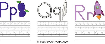 Writing practice of letters P,Q,R. Education for children. Vector illustration