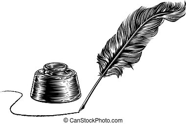 Writing Quill Feather Pen and Inkwell