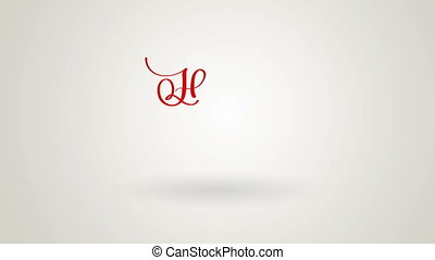 Writing red Happy new year animation calligraphy lettering...