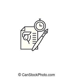 writing resume vector line icon, sign, illustration on background, editable strokes