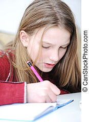 writing school girl